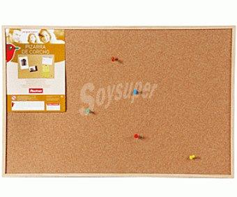 Auchan Tablero de corcho con marco de madera y medidad de 60 x 40 centímetros auchan 60x40cm