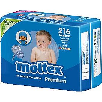 Moltex Toallitas Premium infantiles con aloe vera pack 3x2 paquete 216 unidades 216 unidades