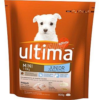 Ultima Affinity Alimento para cachorros especial junior de raza mini con pollo y arroz  Paquete de 800 g