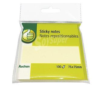 Productos Económicos Alcampo Taco de 100 notas adhesivas, cuadradas de 75x75 milímetros y de color amarillo alcampo