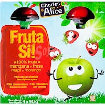FRUTA SÍ Compota de manzana-fresa Pack 4x90 g