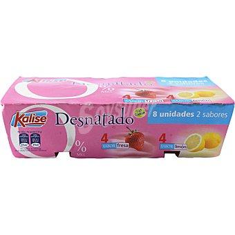 KALISE yogur desnatado 0% 4 sabor fresa + 4 sabor limón pack 8 unidades 125 g