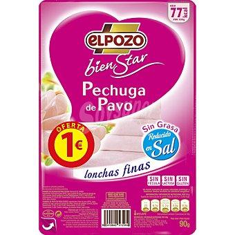 ElPozo pechuga de pavo reducida en sal bajo en grasa en lonchas finas Bienestar envase 90 g