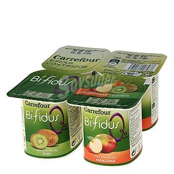Carrefour Yogur con trozos de kiwi bifidus 0% 4x125 g