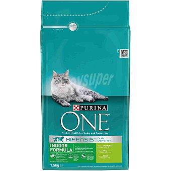 Purina One Indoor formula pienso especial para gatos adultos de interior con pavo y cereales Bolsa 1,5 kg