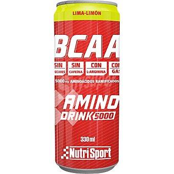 Nutrisport Bcaa Aminodrink 5000 bebida de aminoácidos ramificados con sabor a lima- limón sin azúcares y sin cafeína Lata 33 cl