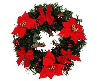 Actuel Corona de 35.5 centímetros, decorada con bolas de color rojo, piñas y flores de pascual de color rojo actuel 35.5cm