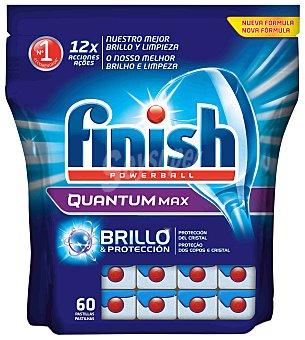Finish Detergente lavavajillas Power Ball Quantum Max bolsa 60 pastillas brillo y protección del cristal Bolsa 60 pastillas