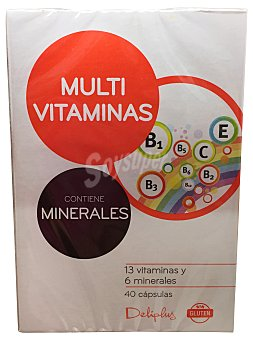 DELIPLUS Cápsulas multivitaminas y minerales Bote de 40 uds