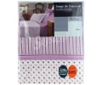 AUCHAN Juego de sábanas para cama de 105 centímetros, diseño rayas y puntos color malva 1 Unidad