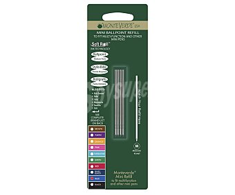Monteverde 4 mini-recambios de punta roller de grosor medio, tinta líquida azul monteverde
