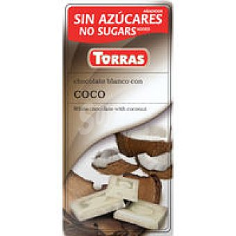 Torras Chocolate blanco de coco sin azúcar Tableta 75 g