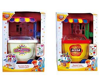 Rik&Rok Auchan Set de moldear Puesto de Helado o Puesto de Pizza, incluye accesorios y 6 plastilinas de colores diferentes 1 unidad