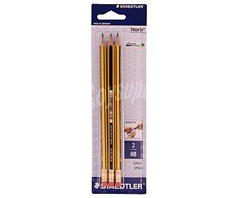 Staedtler Lote de 3 lápices de grafito, con cuerpo de color amarillo y negro, grosor de escritura del número 2 con dureza HB y goma de borrar en el otro extremo, noris 1 unidad
