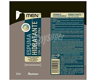Auchan Espuma de afeitar hidratante para pieles sensibles y normales 250 mililitros