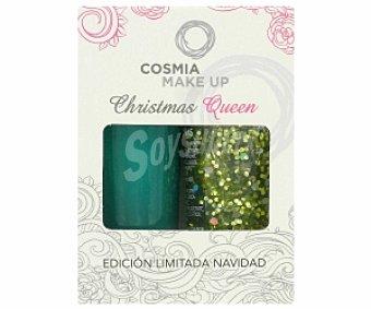 COSMIA Duo Lacas Navidad: Glitter + Laca de uñas Tono 11 1 Unidad
