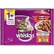 Comida húmeda para gatos en gelatina selección clásica Pack 4 envases x 85 g Whiskas
