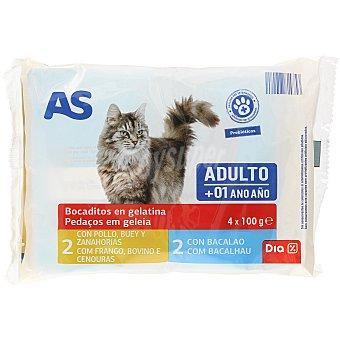 AS Alimento para gatos trozos en gelatina sobres 4x100 gr