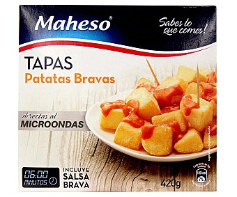 Maheso Patatas bravas para microondas con salsa incluida Bolsa 420 g