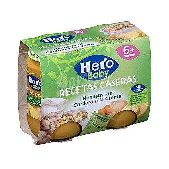 Hero Baby Tarrito de menestra de cordero a la crema desde 6 meses Pack de 2 unidades de 200 g
