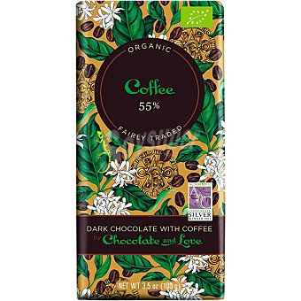 CHOCOLATE AND LOVE Chocolate negro con café 55% cacao Tableta de 100 g
