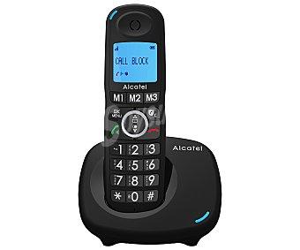 Alcatel Teléfono inalámbrico negro, identificación llamadas, agenda, manos libres, pantalla iluminada, bloqueo llamadas XL535
