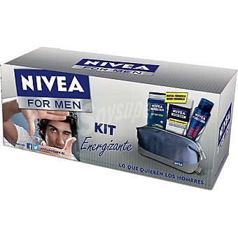 Nivea kit Energizante con gel de baño Energy For Men frasco 250 ml + desodorante Dry Impact spray 150 ml + crema hidratante Skin Energy Q10 frasco 50 ml + neceser Frasco 250 ml