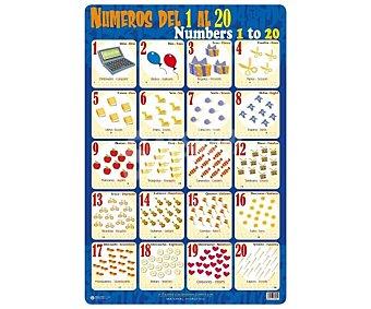ERIK Lámina educativa de PVC con números del 1 al 20