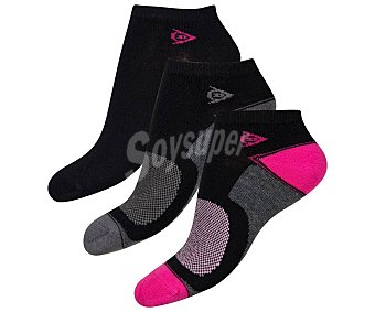 Dunlop Lote de 3 pares de calcetines tobilleros para mujer talla 35/38.