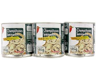 Auchan Champiñones laminados Lata de 105 grs pack de 3