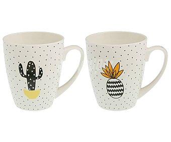QUO Taza de porcelana de gran capacidad decorada con piñas/cactus, , QUO 0,41 litros