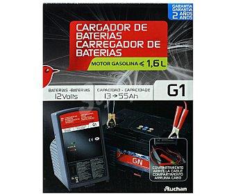 Auchan Cargador de baterias de 12V con capacidad de carga de 13 a 55 amperios hora y recomendado para vehículos con motores gasolina de menos de 1.6 litros. 1 unidad