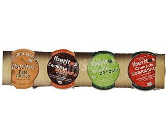 Iberitos Surtido de untables (paté ibérico, cachuela extremeña, zurrapa de lomo y crema de sobrasada) Pack de 4 unidades de 25 gramos