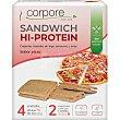 Sandwich Hi-Protein tostadas de trigo sarraceno y arroz sabor pizza sin aceite de palma Envase 100 g Corpore diet