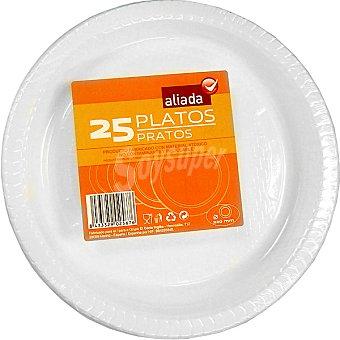 Aliada Plato blanco de plástico 22 cm Paquete 25 unidades