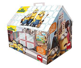 MINIONS Bonita casita con los dibujos de los simpáticos minios, que incluye 7 sellos, 1 almohadilla de tinta, 3 marcadores lavables con agua y 1 libro 1 Unidad