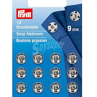 PRYM Estuche 12 broches de presión en color plata de 9 mm