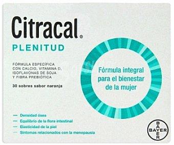 CITRACAL Plenitud Complemento aliementicio con sabor naranja, fórmula integral para el bienestar de la mujer 30 Sobres