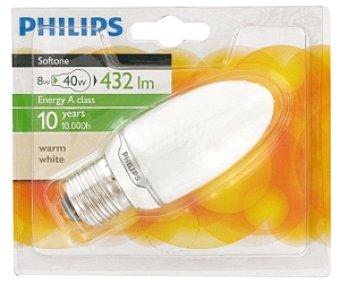 Philips Bombilla vela ahorradora, 827, blanca cálida, 8W E27 220-240V 1u