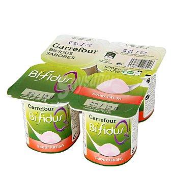 Carrefour Yogur Bífidus sabor fresa 0% Pack de 4x125 g