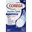 Tabletas limpiadoras para prótesis dentales Acción total con 7 beneficios caja 30 tabletas uso diario para prótesis totales y parciales  Corega