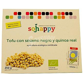 SOJHAPPY tofu con sésamo negro y quinoa real ecológico  envase 220 g