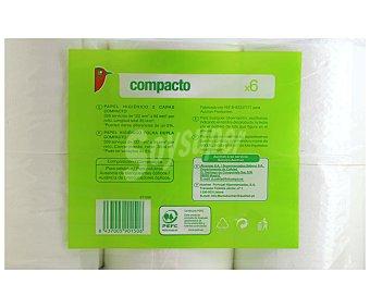 Auchan Papel higiénico compacto, paquete 6 unidades