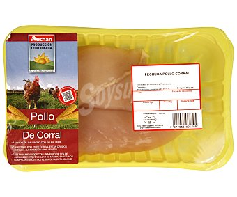 Auchan Producción Controlada Bandeja de pechugas sin piel de pollo de corral 500 gramos aproximados