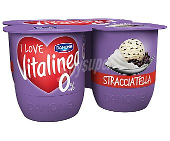 Vitalínea Danone Yogur desnatado 0% materia grasa, con trozos de stracciatela 4 x 125 g