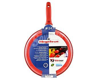 MAGEFESA Sartén modelo Pomodoro de 24 centímetros, con cuerpo de acero vitrificado, mango de silicona y recubrimiento interior antiadherente bicapa 1 Unidad