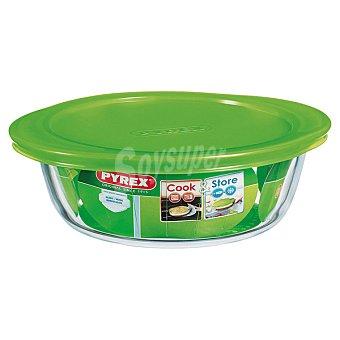PYREX Cook & Store Fuente de cristal redonda con tapa en color verde 20 cm 1 Unidad