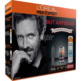 L'Oréal Men Expert Kit Anti-edad con Vitalift 5 crema anti-edad hidratante diario dosificador 50 ml + roll-on ojos dosificador 10 ml + regalo de espuma de afeitar Sensitive Dosificador 50 ml