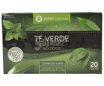 Intermón Oxfam Te verde con menta de agricultura ecológica 36 gramos