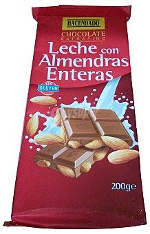 HACENDADO CHOCOLATE LECHE CON ALMENDRAS ENTERAS TABLETA 200 g
